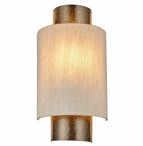 Indara Wall Light Hammered bronze plate & natural fabric